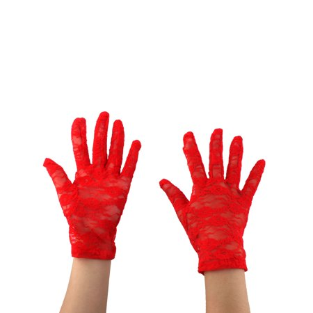 0.25 Drive Full Polish (Ladies Driving Cycling Lace Full Finger Mittens Sun Resistant Gloves Red)