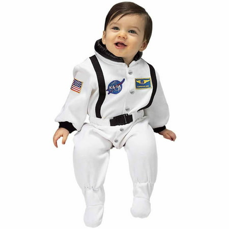 NASA White Jr. Astronaut Suit Infant Halloween Costume, Size 6-12 - Infant Flower Costume 0 6 Months