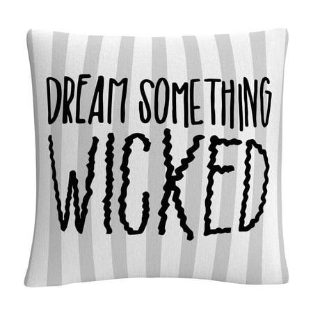 Dream Something Wicked Typographic Gray Halloween By Abc 16 X 16 Decorative Throw - Abc Halloween List