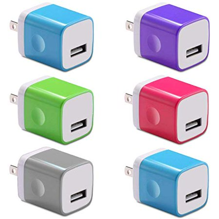 5V 1A Certified Replacement Charger Universal Power Adapter USB Wall Cube 1A Outlet for Smart Phones and Other Portable Devices (6-Pack) Assorted (Battery Charger For Mobile Devices Assorted Colors)
