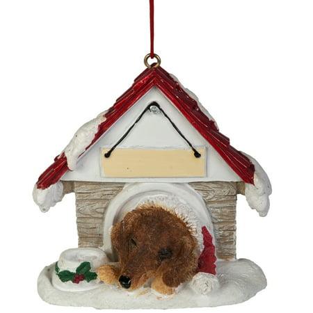 Tan Dachshund in Dog House Christmas Ornament ()
