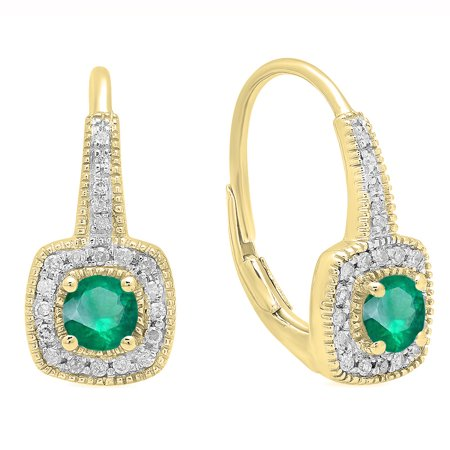 0.65 Carat (ctw) 10K Yellow Gold Round Cut Emerald & White Diamond Ladies Halo Style Dangling Earrings