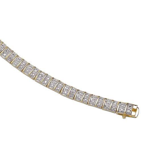 18kt Gold over Sterling Diamond Highlight Tennis Bracelet