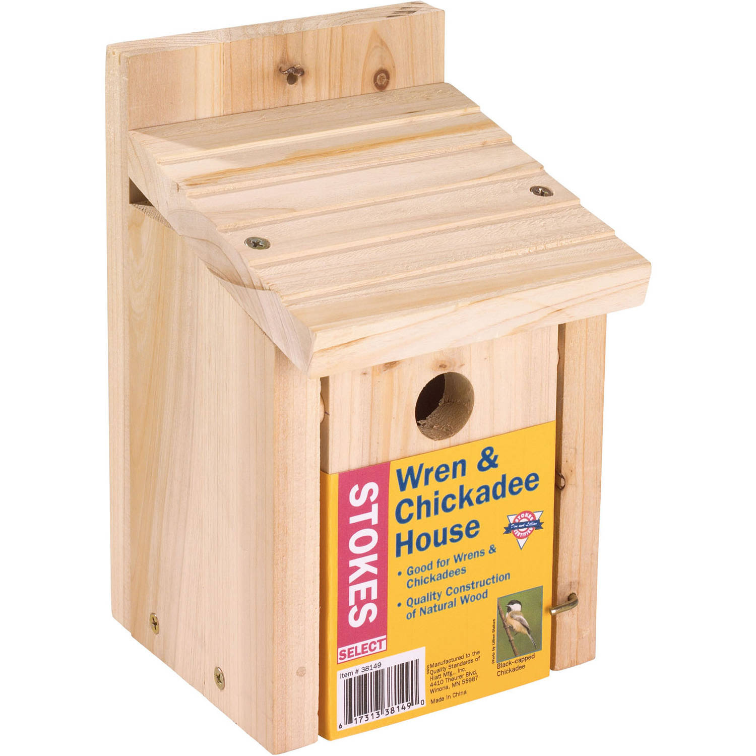 Stokes Select Wren and Chickadee Nesting Bird House, Natural Wood