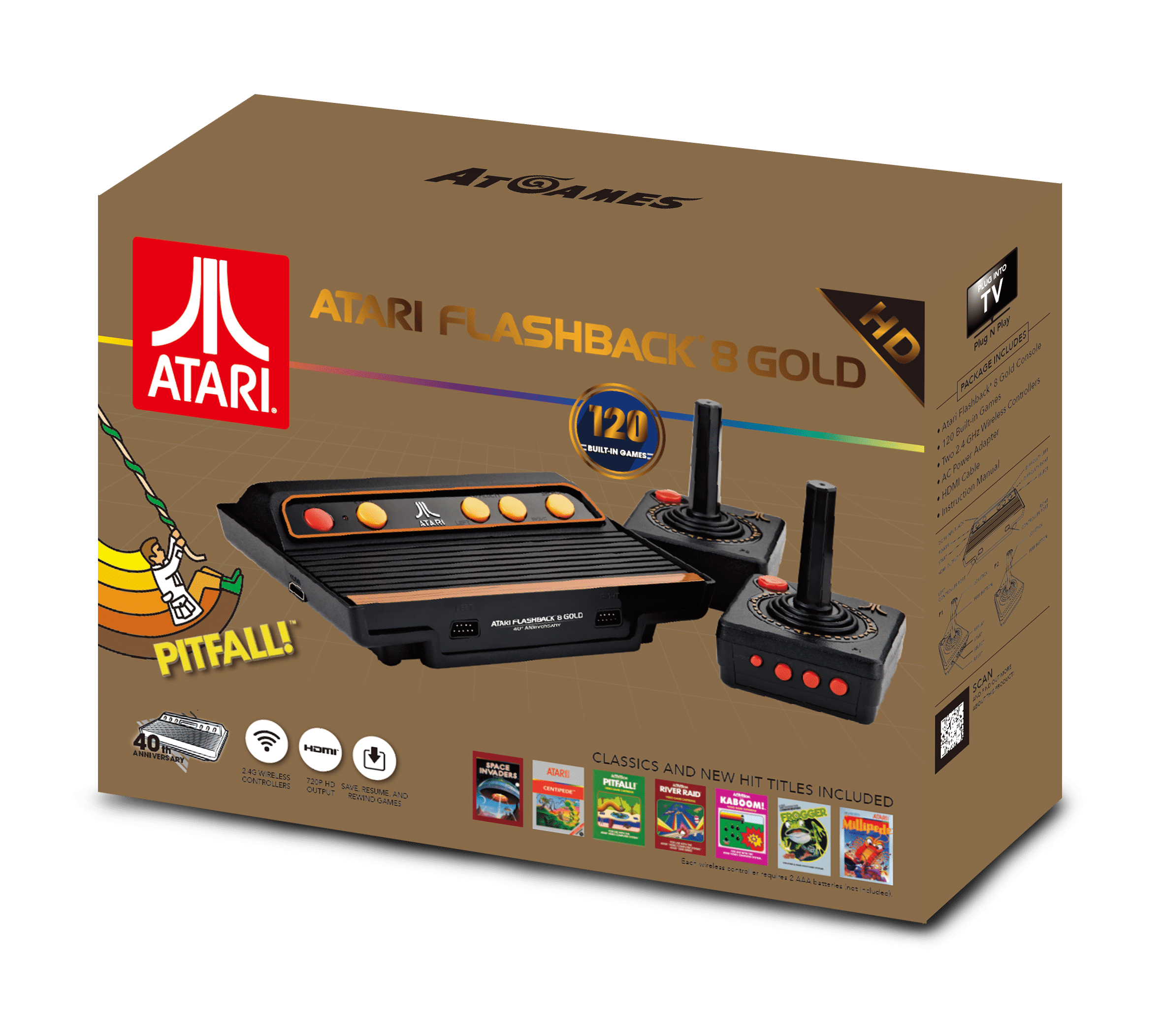 Atari Flashback 8 Gold: HD Classic Console with 120 Built-In Games, Black