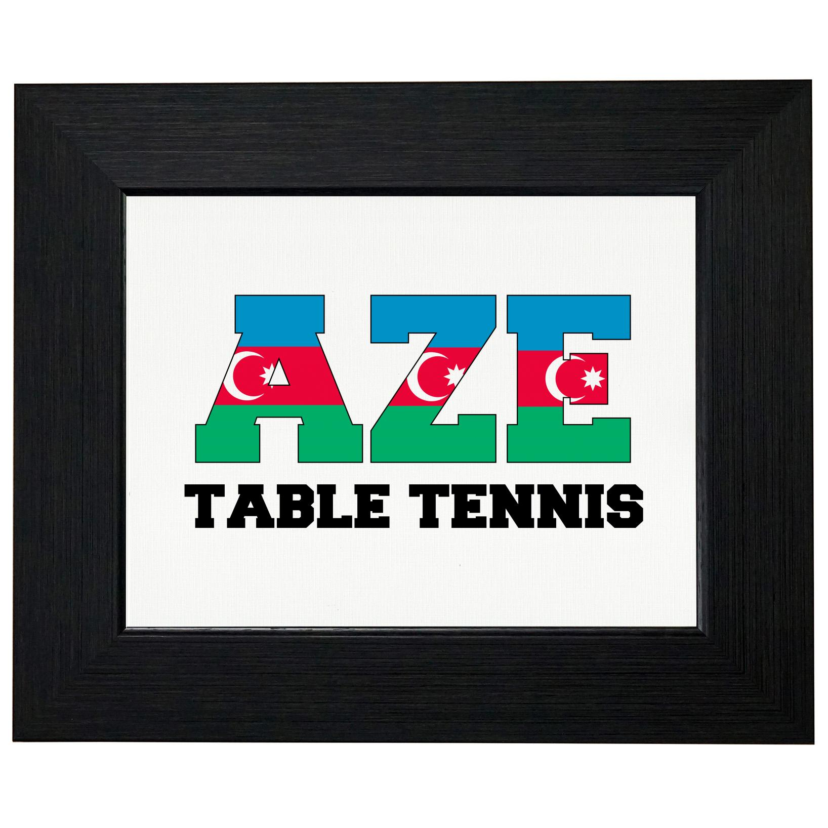 Azerbaijan Ping Pong Olympic Games Rio Flag Framed Print Poster Wall or Desk Mount Options by Royal Prints