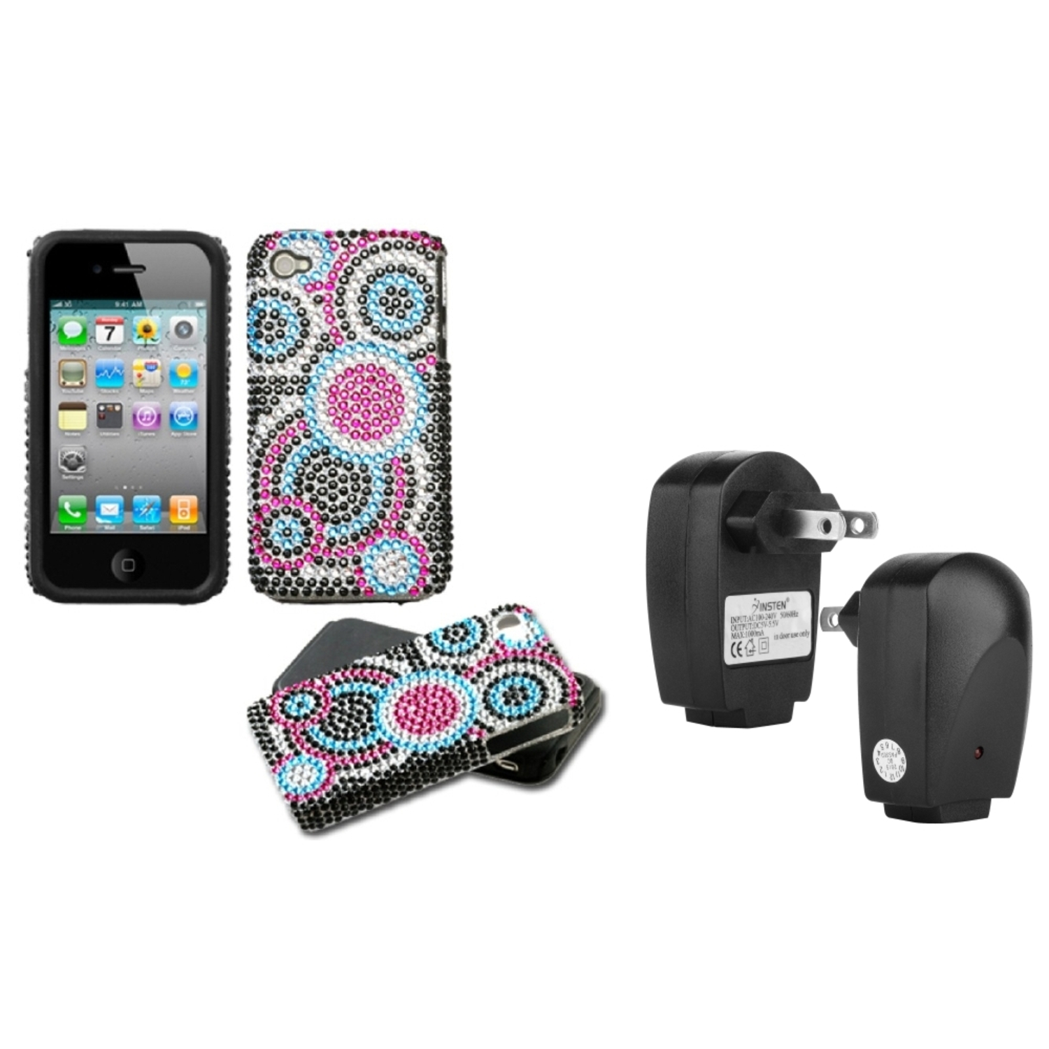 Insten Bubble Diamante Fusion Case For iPhone 4/4S + USB Travel Charger Adapter