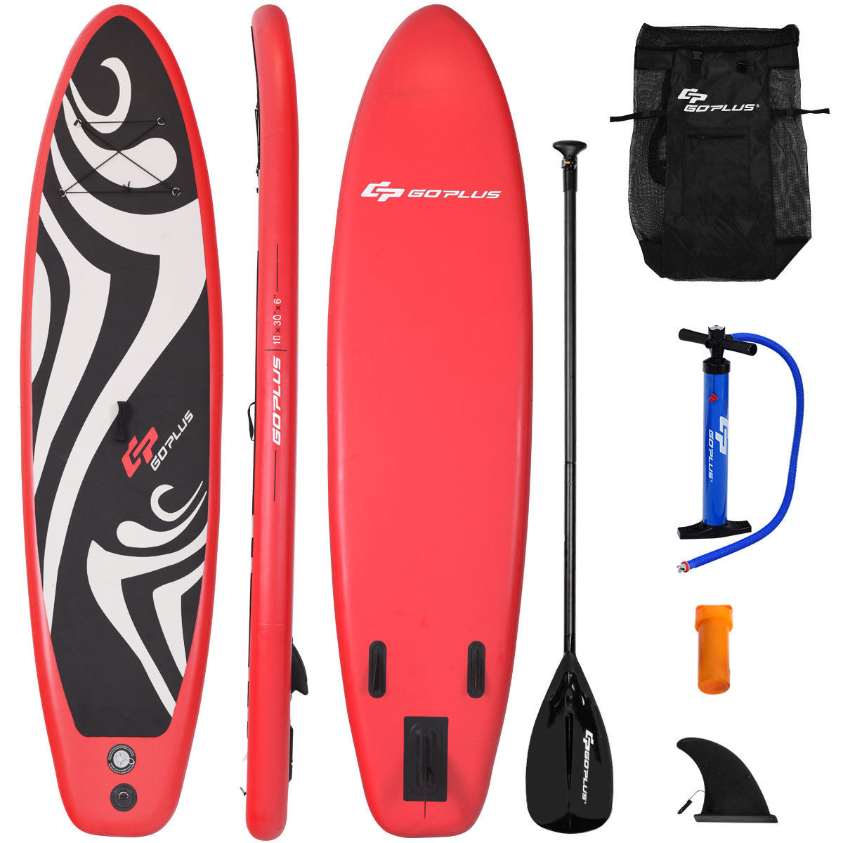 Goplus 10' Inflatable Stand up Paddle Board Surfboard SUP W  Bag Adjustable Fin Paddle by Costway