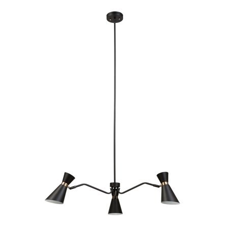 - Globe Electric Belmont 3-Light Black and Gold Chandelier, 65854