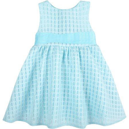 G-Cutee Newborn Baby Girls' Aqua Textured Dress with Grosgrain Ribbon