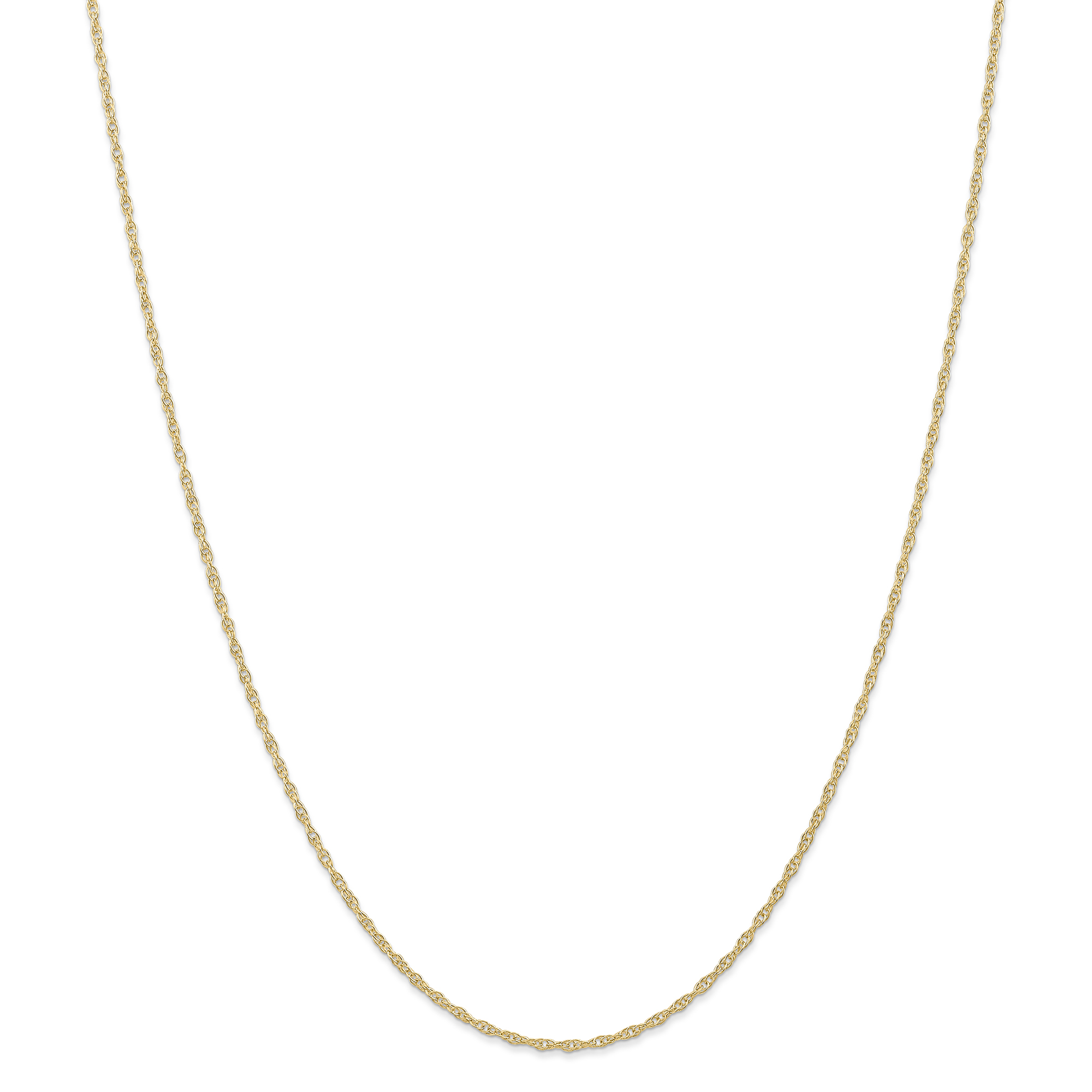 Roy Rose Jewelry 14K Yellow Gold 1.35mm Carded Cable Rope Chain Necklace ~ Length 24'' inches