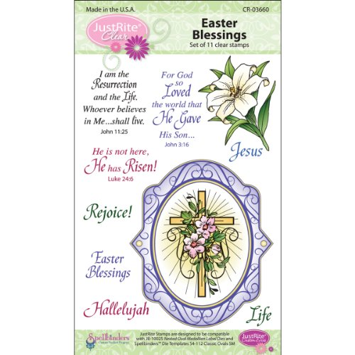 Justrite 11-Piece Papercraft Clear Stamp Set, 4 by 6-Inch, Easter Blessings Oval Medallions Multi-Colored