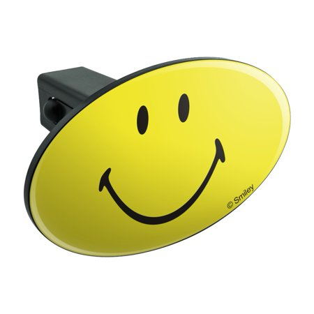Smiley Smile Happy Yellow Face Oval Tow Hitch Cover Trailer Plug Insert 1 1/4 inch (Double Face Trailer)