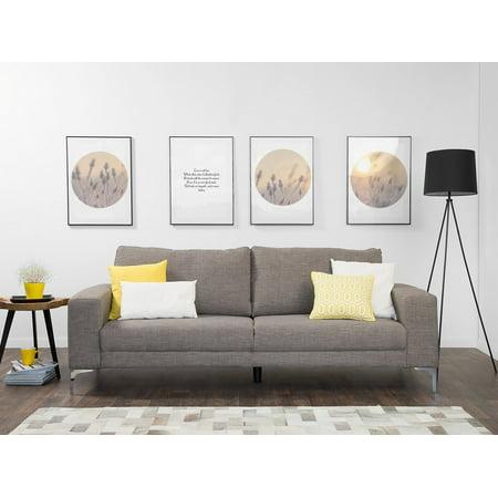 Living Room Three Seat Sofa (Modern Fabric Sofa 3 Seats Metal Legs Minimalist Living Room Gray Orbero)