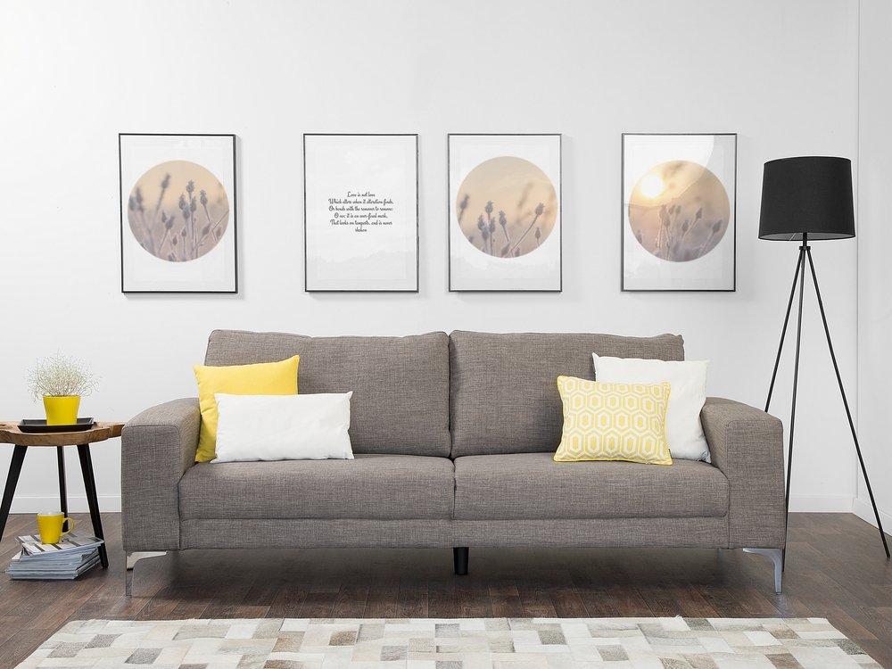 Modern Fabric Sofa 3 Seats Metal Legs Minimalist Living Room Gray Orbero