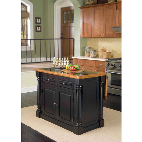 Home Styles Monarch Black/Distressed Oak Island with Granite Top
