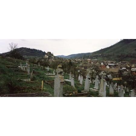 Tombstones In A Cemetery Saxon Church Biertan Sibiu County Transylvania Romania Canvas Art   Panoramic Images  15 X 6