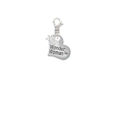 Silvertone Large Wonder Woman Heart - 2019 Clip on Charm](Wonder Woman Charm)