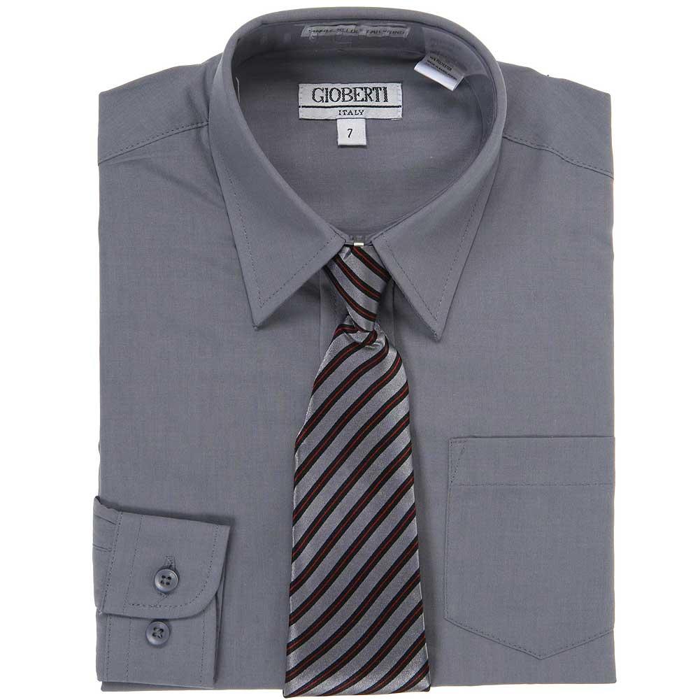 Dark Grey Button Up Dress Shirt Grey Striped Tie Set Boys 5-18