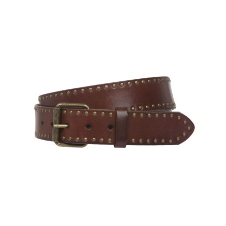 Genuine Vintage Retro Circle Studded Leather Belt - Interchangeable buckle