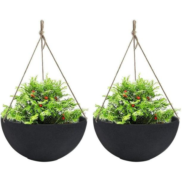 La Jolie Muse Large Hanging Planters For Outdoor Indoor Plants Black Hanging Flower Pots With Drain Holes 13 2 Set Of 2 Walmart Com Walmart Com