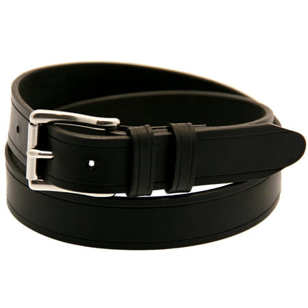 Made In USA 1 1/4 Black Latigo Leather Belt Saddle Groove Stainless Steel - Made Black Leather