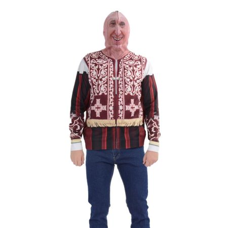 Zip Halloween Face (Mens Pope Mask Full Face Zip up Printed Hoodie, Red - Extra)