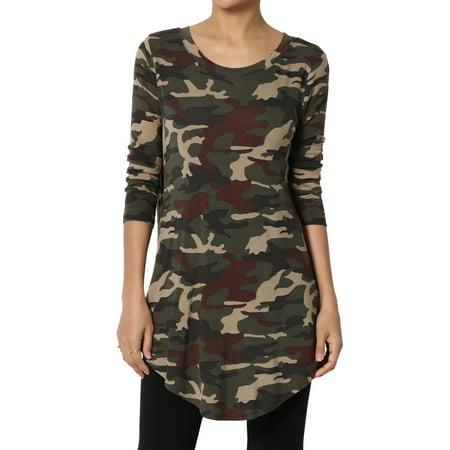 TheMogan Women's Army Camouflage Print Camo Rounded Hem Boat Neck 3/4 Sleeve