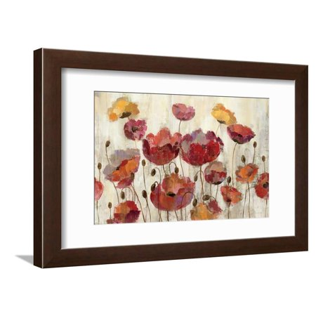 Poppies in the Rain Red Flower Contemporary Floral Art Framed Print Wall Art By Silvia (Contemporary Rail)