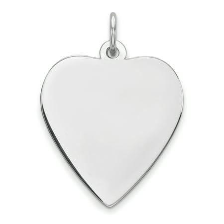 SS Rh-plt Engraveable Heart Polished Front/Satin Back Disc Charm QM391/27 (25mm x 18mm) - image 2 de 2