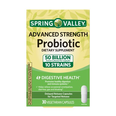 Spring Valley Advanced Strength Probiotic Vegetable Capsules, 30 Ct