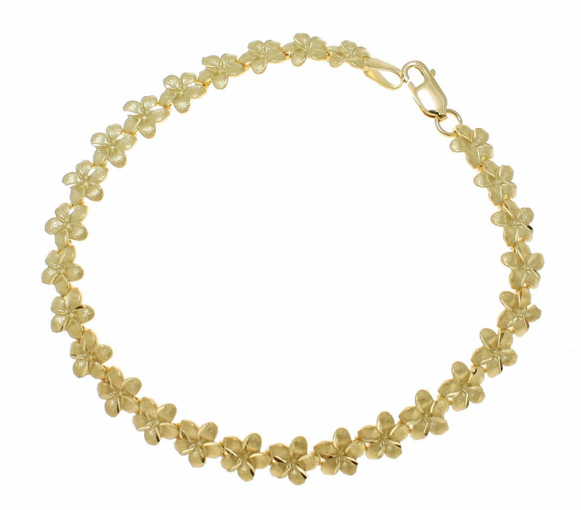 """Solid 14k yellow gold Hawaiian plumeria flower bracelet 7mm 8"""" by"""