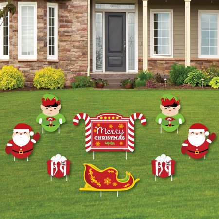 jolly santa claus merry christmas yard sign outdoor lawn decorations christmas yard signs - Walmart Christmas Lawn Decorations