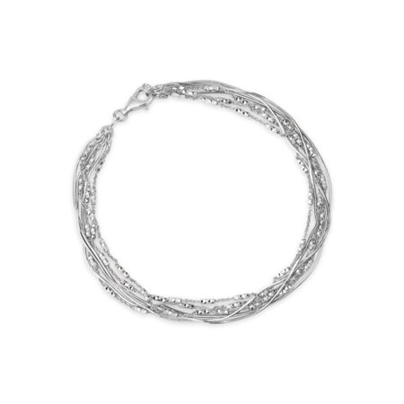 - Sterling Silver Rhodium Plated Snake Chain and  Alternating Diamond Cut 6 Strands Bracelet, 7.5