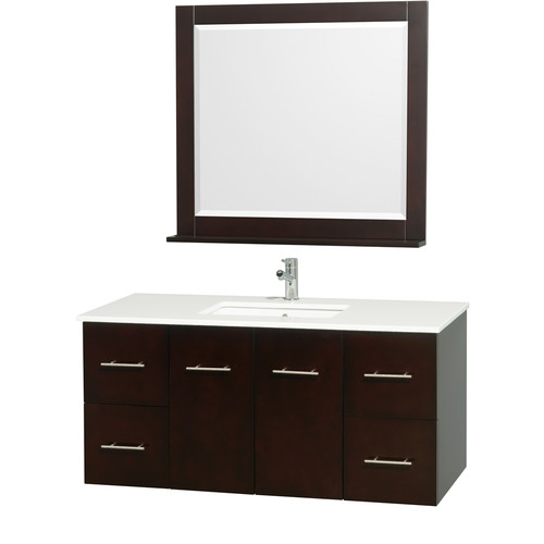 Wyndham Collection Centra 48 inch Single Bathroom Vanity in Gray Oak, Green Glass Countertop, Square Porcelain Undermount Sink, and 36 inch Mirror