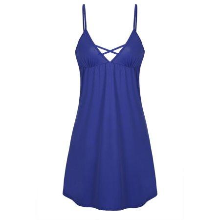 Ekouaer Women Fashion Casual V Neck Spaghetti Strap Backless Nightgown Sleepwear RllYE Strap Neck Floor