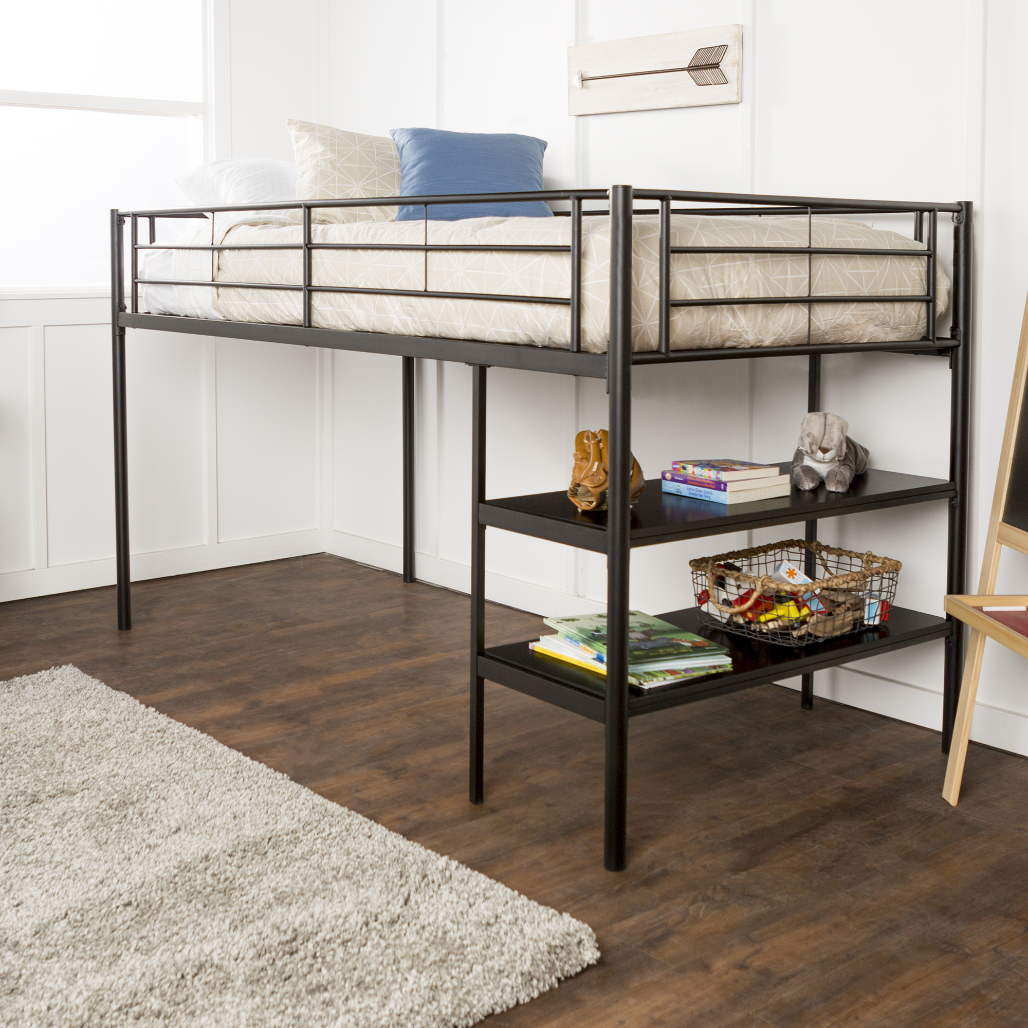 Mainstays Ansley Metal Twin Low Loft Bed, Black