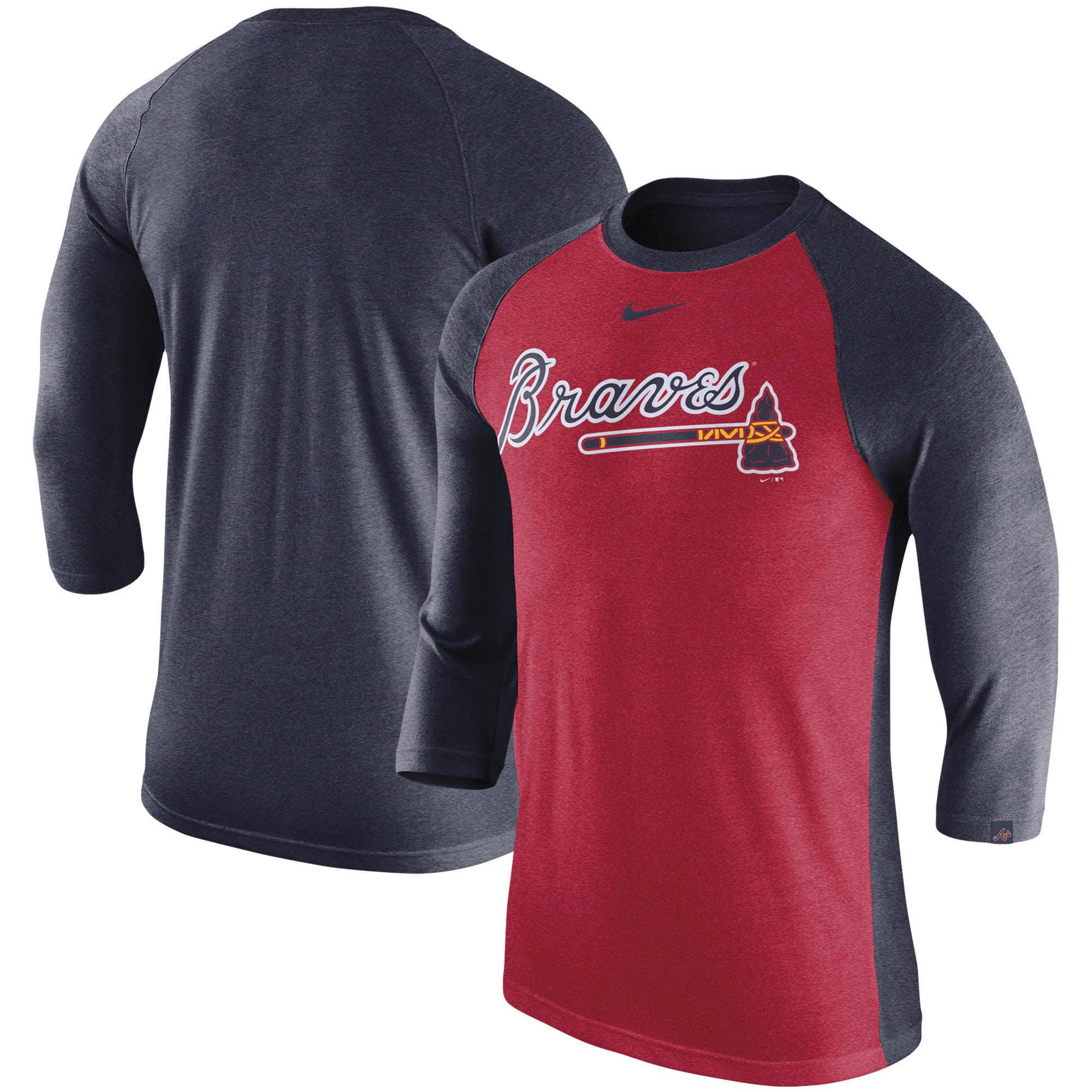 Atlanta Braves Nike 3/4-Sleeve Tri-Blend Raglan T-Shirt - Heathered Red