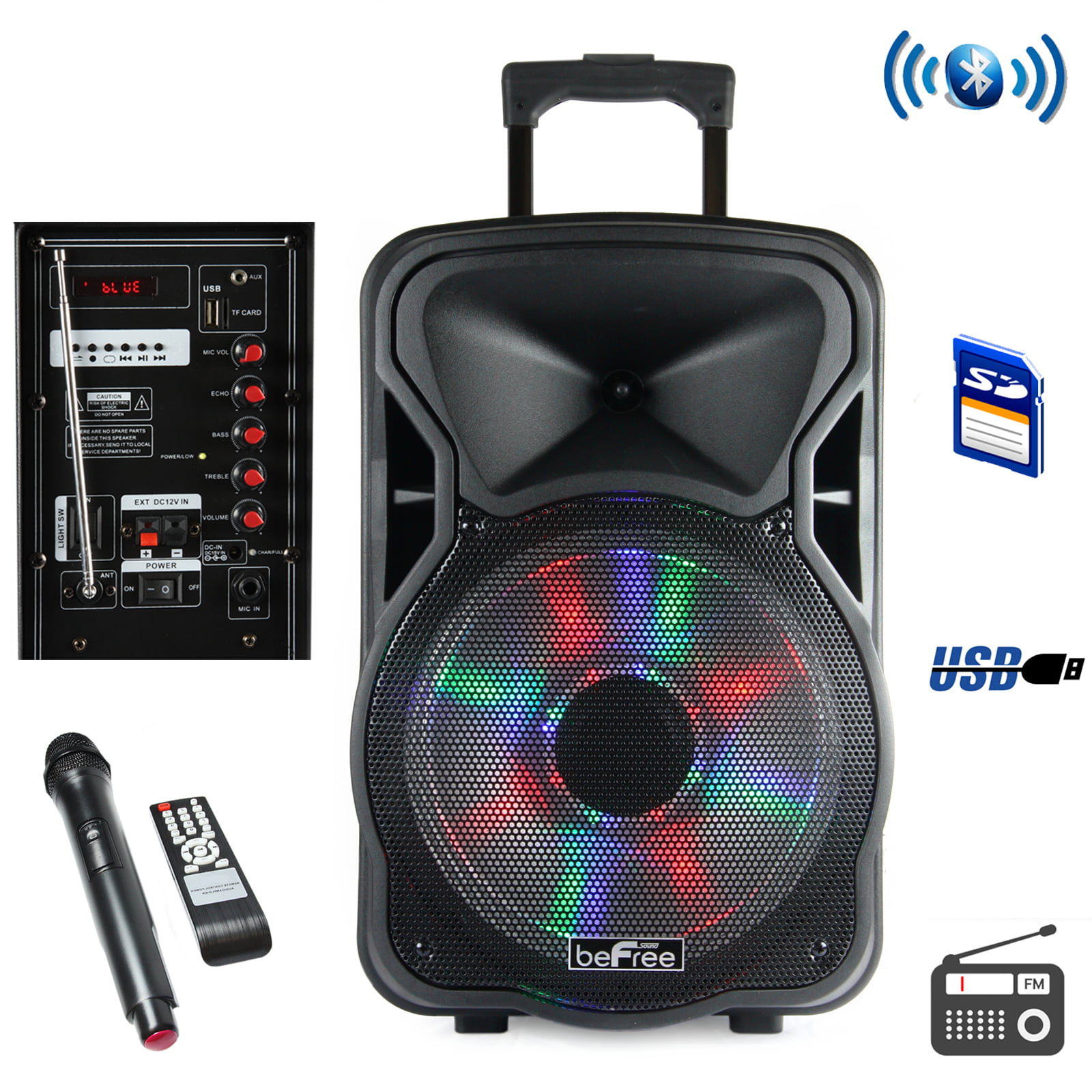 800W High Powered Disco JAM Active Passive Pair Indoor Outdoor Sound PA Speakers W//USB SD MP3 FM Radio Aux RCA Led DJ Lights 35mm Stand Mount Pyle Portable PA Tower Speaker System