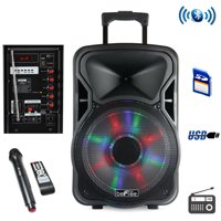 beFree Sound 12 Inch Woofer; Portable, Bluetooth, Powered PA Tailgate Party Rechargeable Speaker With Illuminating Lights