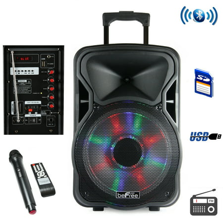 beFree Sound 12 Inch Woofer; Portable, Bluetooth, Powered PA Tailgate Party Rechargeable Speaker With Illuminating