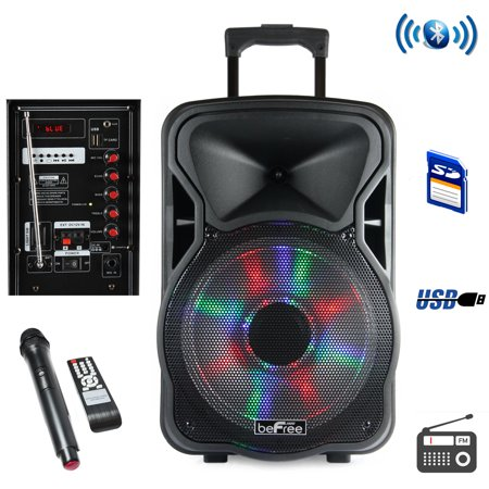 beFree Sound 12 Inch Woofer; Portable, Bluetooth, Powered PA Tailgate Party Rechargeable Speaker With Illuminating Lights - Packers Tailgate Party