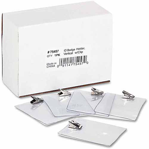 Advantus ID Badge Holders with Clips, Clear, 50-Pack