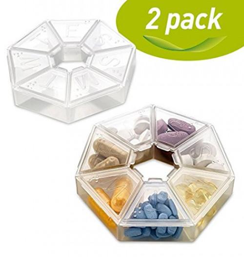 MEDca Weekly Pill Organizer Clear 7-Sided Pill Reminder 79115fd242e5