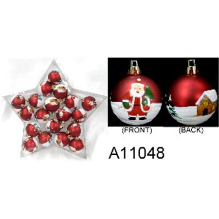 Winterland WL-ORN-20PK-STR 20 Piece Plastic Ball With Santa Claus Design, Matte Red With Iridescent - Plastic Santa