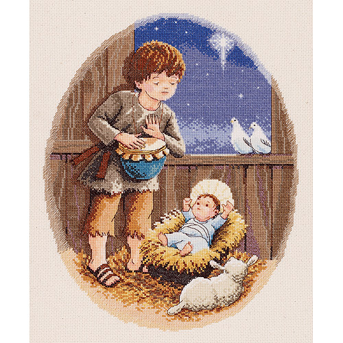 """Little Drummer Boy Counted Cross Stitch Kit, 10-1/2"""" x 13-1/2"""", 14-count"""