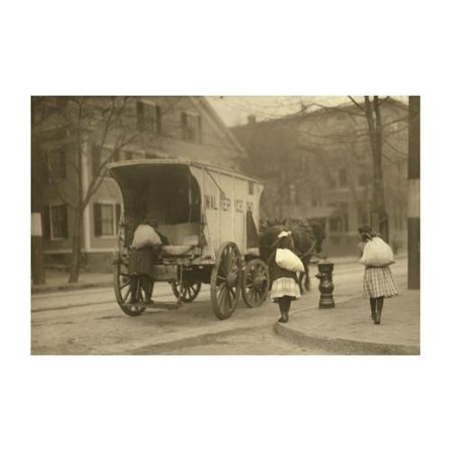 Small Girls Toil at Ice Wagon Print (Canvas 24x36)
