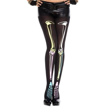 music legs 37237-black-rainbow multi color skeleton print tights, black & - Skeleton Tights