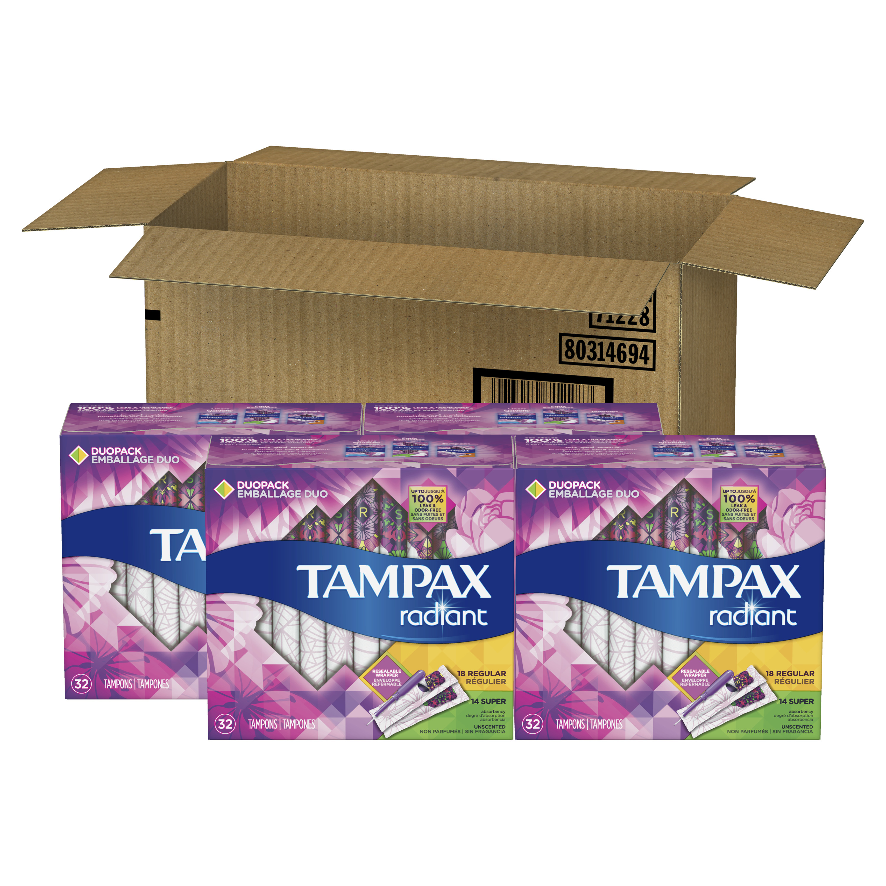 Tampax Radiant DuoPack (Regular and Super) Plastic Tampons, Unscented, 128 Count
