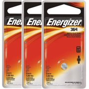 (3 Pack) Energizer Watch Battery, Size 364, 1 Pack